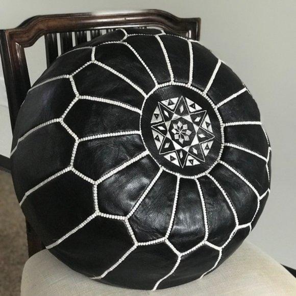 Moroccan handmade Black & White Bohemian pouf